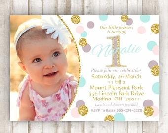 Pink Gold First Birthday Invitation Blush Gold Glitter