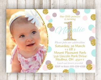 Pink and Gold First Birthday Invitation Aqua and Gold 1st Birthday Invitation Girl 1st Birthday Invite Gold Glitter Printable Invite BRPG05