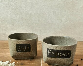 Salt and Pepper Cellars, Modern Ceramic Stoneware, Condiment Holder, Round Boxes, Foodie Lovers Gift, Salt container, Cellar Design