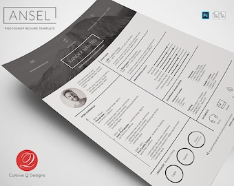 Ansel - Photoshop PSD Resume Template. Instant Download. Photographer, Designer, CV - Easy Editing, Layered, Change Colors and Details Fast