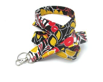 Fabric ID Badge lanyard, Keys Lanyard, Badge holder Black, Red and Yellow Gift for Teacher