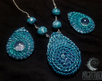 Dragon scale polymer clay necklace and earrings