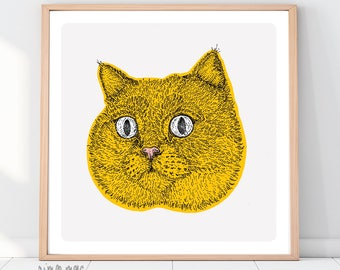 SALE A4 Square Shocked Yellow Shorthair Cat Print - Free UK Shipping!