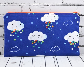 Kawaii Pencil Case, Clouds Zipper Pouch, Kawaii, Toiletry Bag, Cosmetic Bag, School Supplies, Girl's Pencil Case