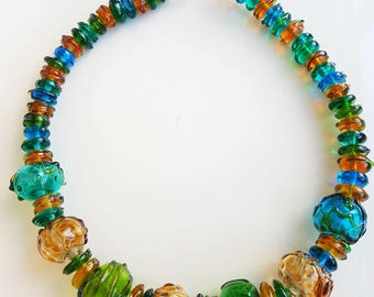 Hollow glass necklace, murano glass necklace, Lampwork  necklace,