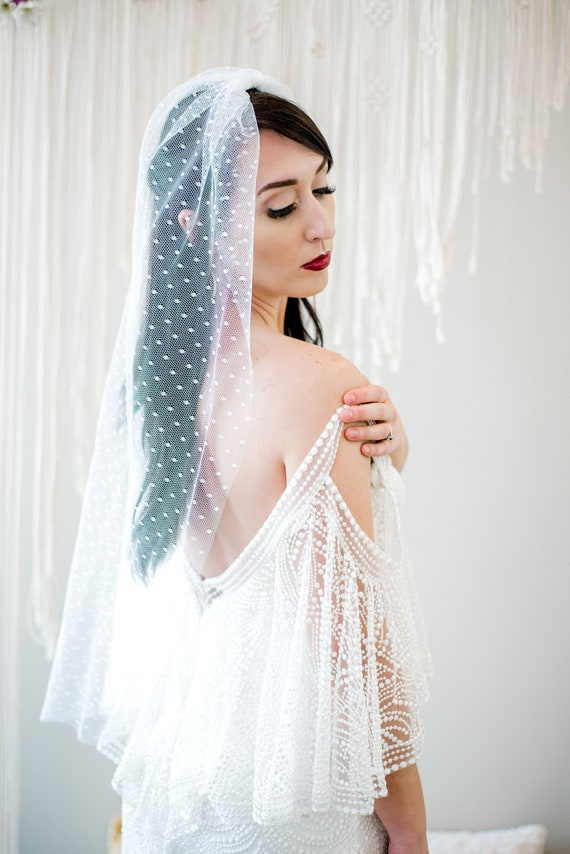 Wedding Veil, Bridal Veil, Single Tier Veil, Simple Veil, Polka dot Bridal Veil, Dotted, Polka Dot Veil, Point d'Esprit, Swiss Dot ROSAMUND