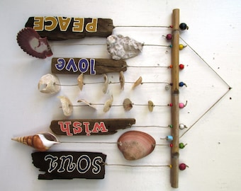 Inspirational Shell & Driftwood Windchime / Mobile: Soul, Peace, Wish, Love. READY TO SHIP
