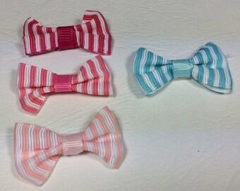 Hair bow, striped fabric