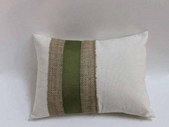 Burlap Amp Olive Ribbon Accent Lumbar Pillow Cover Decorative