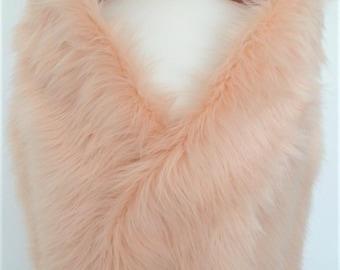 pink fur stole, champagne shawl, blush fake fur, wrap, shrug, collar
