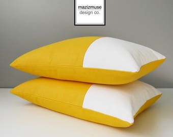 Decorative Yellow & White Outdoor Sunbrella Pillow Cover, Modern Color Block Pillow Cover, Yellow Cushion Cover, Sunflower Yellow