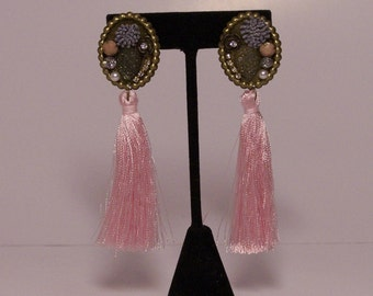 Pink fringe earrings with colorful pieces