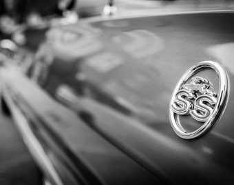 Chevy Impala SS, Chevy muscle cars, Black white photography, Gift for car lovers, Dorm room wall décor, Wall art for men, Wall décor office