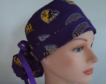 LSU Ponytail fabric scrub hat - Womens surgical scrub cap, Nurse surgical cap, 86-3690 W
