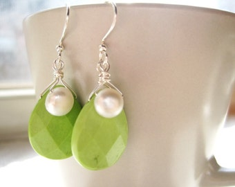 Keylime Teardrop Earrings, White Pearl Beads and Mint Green Faceted Stone Earrings, Snowdrop Earrings