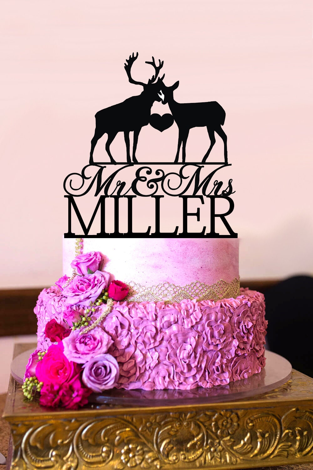Deer Wedding Cake Topper Deer Couple Silhouette Mr and Mrs