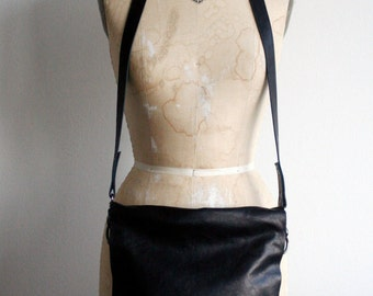 cross-body bag, black leather, printed canvas, edgy bag, artist