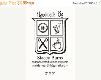 Mothers Day Sale Custom Coat of Arms Sheild Personalized Business Card Rubber Stamp  AD73