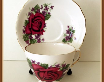 Vintage Royal Vale China Tea Cup and Saucer, Red Rose, England, Mid Century, Purple Violets,  Ridgway Potteries, Ltd.,
