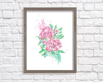 Peony Print, Peony Art, Flowers art, Floral Art, Flowers Decor, Watercolor Flowers, floral print, pink flowers, watercolor home decoration
