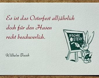 Postkarte »Osterfest« (Wilhelm Busch), Buchdruck, Bleisatz auf Graupappe