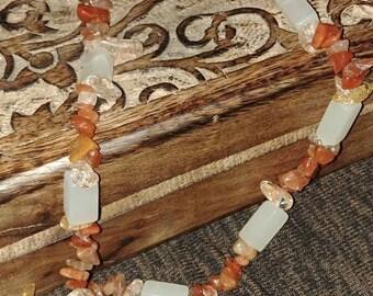 White Onyx, Red Aventurine & Ice Flake Quartz Necklace
