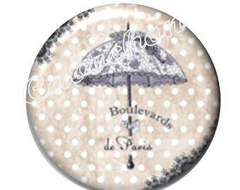 2 cabochons 18mm glass, Dame de Paris, vintage, umbrella