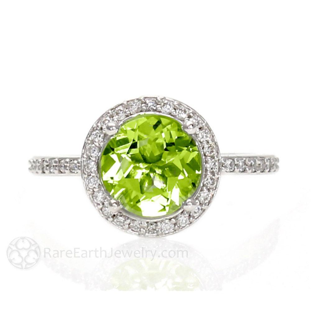 platinum peridot ring diamond halo engagement ring custom. Black Bedroom Furniture Sets. Home Design Ideas
