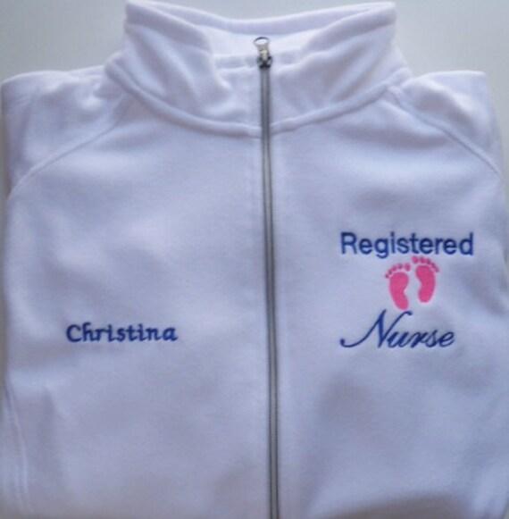 Womens Clothes Nurse Jacket, Full Zip Fleece Jacket, RN Jacket, Heart  Stethoscope Monogram