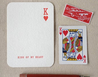King of my Heart Letterpress Anniversary, Wedding or Valentines Card
