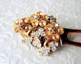 Rhinestone Bridal Hair Comb Amber Jeweled Hair Fork Vintage Jewelry Wedding Accessory Bohemian Downton Abbey Bride Great Gatsby Headpiece