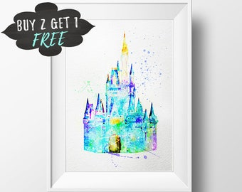 Cinderella Castle Watercolor Printable Wall Art, Disney Princess Castle Print, Disney Cinderellas Castle Clipart Poster, Disney Wall Art