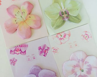 Pretty Flower Memo Pad - Sticky Notes - 4 Designs - Note Pad