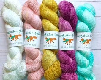Hand Dyed Silk Lace Weight Yarn - Superwash Merino/Silk Blend - 875 Yards - 100 Grams