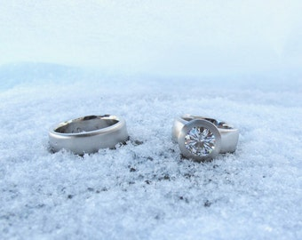 Sunken Treasure wedding rings, women's alternative wide engagement ring, men's wide wedding band, palladium and moissanite wedding set