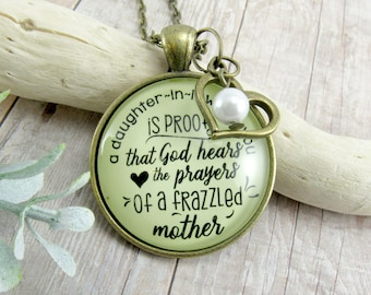 Daughter In Law Faith Necklace Keychain You Are Proof God Hears Mother's Prayers Wedding Gift Groom's Mom Jewelry Heart Charm Keepsake Card