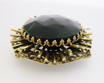 Vintage Victorian Style Black Faceted Glass Designer Freirich Brooch