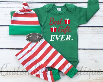 Baby Boys First Christmas Outfit, Red and White Striped Leggings And Hat With Green Cuffs,Baby Boys Christmas Outfit