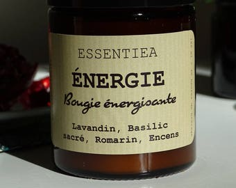 Energizing organic essential oils and soy wax candle. Aromatherapy SPA