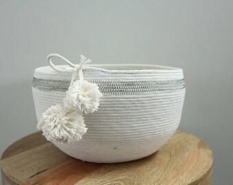 Basket rope coil bin storage organizer bowl pompoms natural grey by PETUNIAS