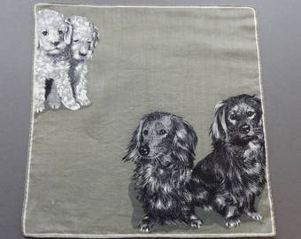 Retro Puppies - Swiss Vintage Cotton Hankie Handkerchief