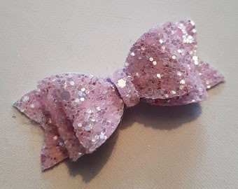 Pale Pink Chunky Glitter Hair Bow