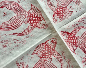 4 Red Fish Linen Napkins - Handprinted Linocut