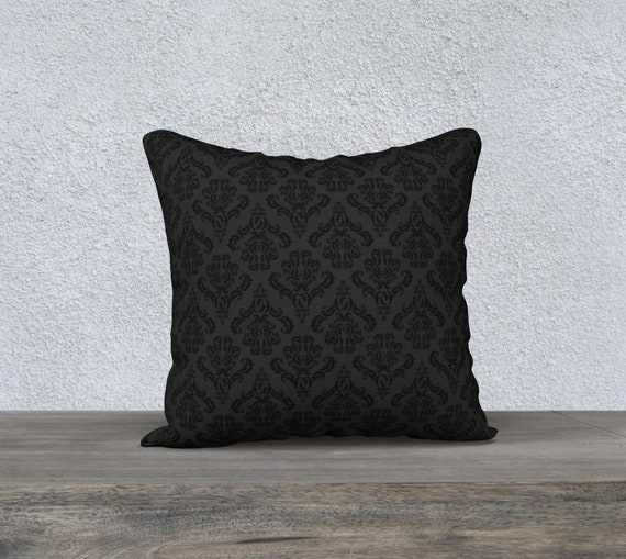 black Victorian damask pattern pillow cover size 18x18