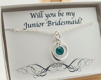 Will You Be My Junior Bridesmaid Gift with Card Set, Infinity Necklace Sterling Silver, December Birthstone Necklace, Wedding Jewelry Gift
