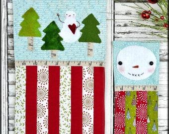 Prim Christmas mini quilt pattern PDF - 3 designs snowman tree wool primitive folk art embroidery