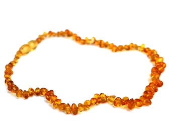 Baltic Amber Baby Teething Necklace Raw Yellow Polished Translucent Natural