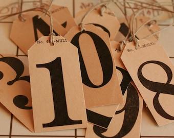 Vintage Flash Card Tags - Set of 10 Numbers
