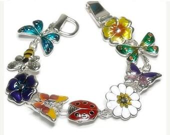 Sale  Flower Garden Charm Bracelet - Bumblebee - Butterfly Charms - Bug, Flower Jewelry - Summer Jewelry -  Garden Theme - Multicolor - Colo