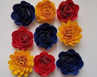 Set of 10 Mixed Small Paper Flower, Yellow Flower,3D flowers, Shadow Box Flower
